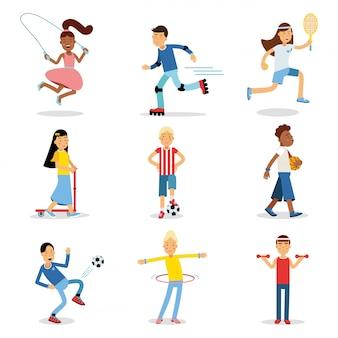 さまざまなスポーツセットをやっているティーンエイジャー。子供の身体活動イラスト