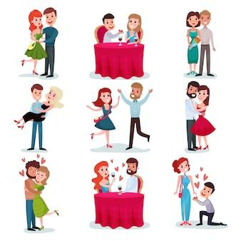 愛のカップルセット、デートの幸せな恋人たち、ロマンチックなディナー、ハグ、ダンスの漫画イラスト