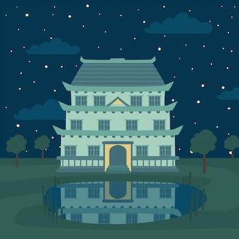 塔、伝統的な日本、中国、アジアの建物、夜の湖、子供たちのおとぎ話の要素
