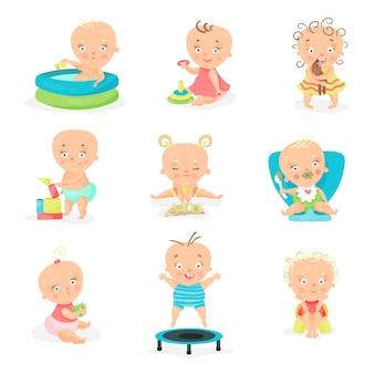 かわいい赤ちゃんとその日課のセット。幸せな笑顔の男の子と女の子のイラスト
