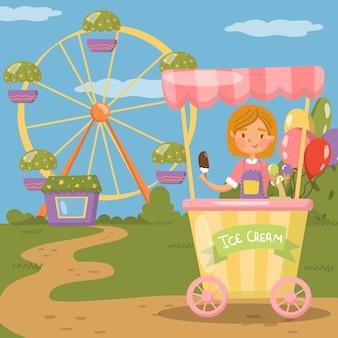 Стойло мороженого, иллюстрация концепции парка развлечений,