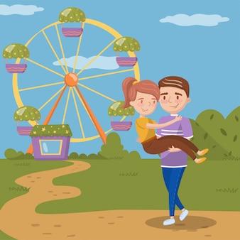 Молодой человек, несущий женщину на руках, счастливая пара знакомства перед колесом обозрения в парке развлечений иллюстрация