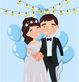 美しいエレガントな結婚式の愛のカップルの写真、写真の最高の瞬間、家族の肖像画イラスト