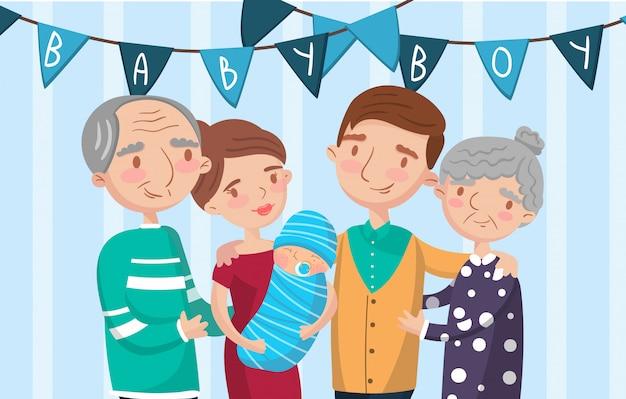 幸せな大家族の肖像画、写真で最高の瞬間、家族の写真