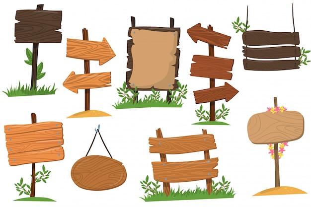 Набор деревянных знаков различных форм, таблички, указывающие указатель стрелки путь мультфильм иллюстрации изолированы