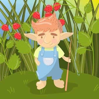 Симпатичные тролль мальчик персонаж, забавное существо, стоя с удочкой на фоне поля клубники красочные иллюстрации