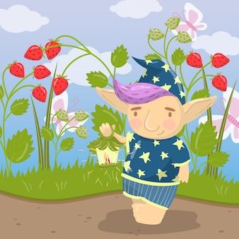 Милый персонаж тролль в синей пижаме, стоя и держа масляный фонарь на фоне поля клубники иллюстрации, мультяшном стиле