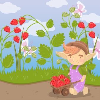 Симпатичный мультяшный тролль с фермерской деревянной тележкой, полной клубники, зеленого летнего пейзажа