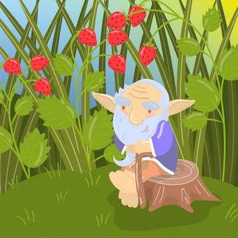 Симпатичный мультяшный старый бородатый тролль сидит на пне, зеленый летний пейзаж иллюстрации