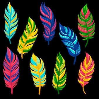 Красивые абстрактные яркие цветные перья набор иллюстрации на белом фоне