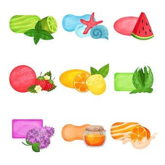さまざまな香りの海の鮮度、スイカ、ライム、イチゴ、レモン、オレンジ、アロエ、蜂蜜、ライラックの開花石鹸のフラットセット。スキンケアと個人衛生のための化粧品