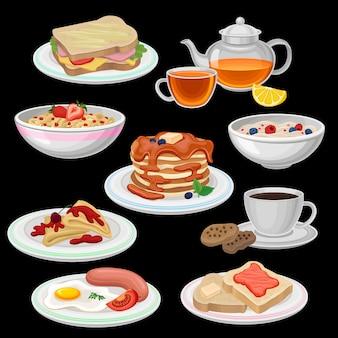 朝食のアイコンのセットです。サンドイッチ、紅茶、クッキー付きコーヒー、チョコレート付きパンケーキ、トースト、ソーセージ付き目玉焼き、オートミールのお粥のボウル、コーンフレークリング。フラットなデザイン