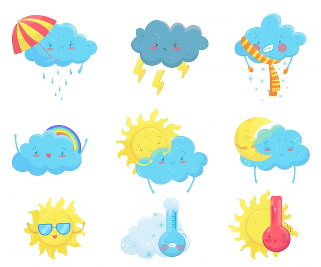 Красочные иконки прогноз погоды. забавный мультяшный солнце и облака. очаровательные лица с различными эмоциями. квартира для мобильного приложения, стикер социальной сети, детская книга или печать