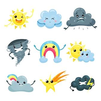 変な顔の天気予報アイコンのセットです。漫画の太陽、かわいい虹、流れ星、怒っている竜巻、悲しい、幸せで狂った雲。モバイルアプリまたはステッカー用フラット