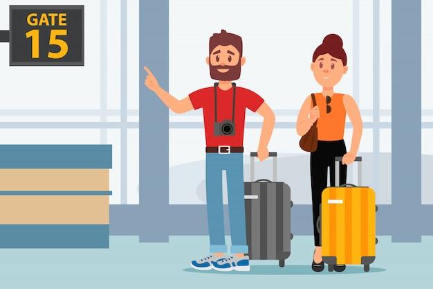 空港ターミナルで若いカップル。スーツケースを持った観光客。家族旅行。手荷物をお持ちのお客様。フラットなデザイン
