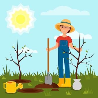 陽気な女の子が木を植えます。庭で働く若い女性。青い空と明るい太陽。自然の風景です。フラットなデザイン