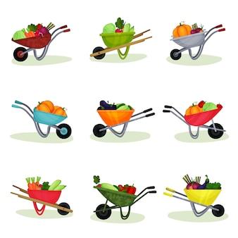 Плоский набор садовых тачек, полный свежих овощей. натуральная и вкусная еда. органические сельскохозяйственные продукты