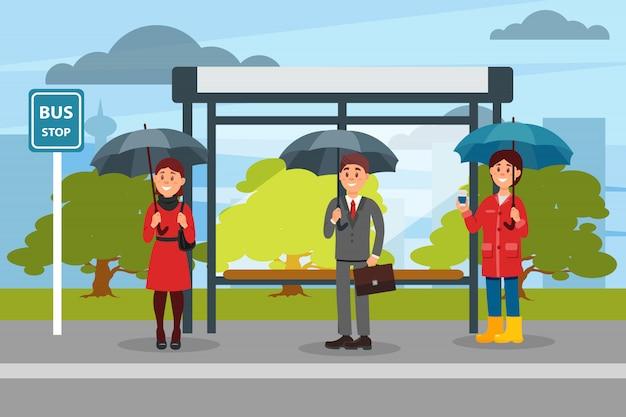 Люди с зонтиками в ожидании автобуса на автобусной остановке иллюстрационная