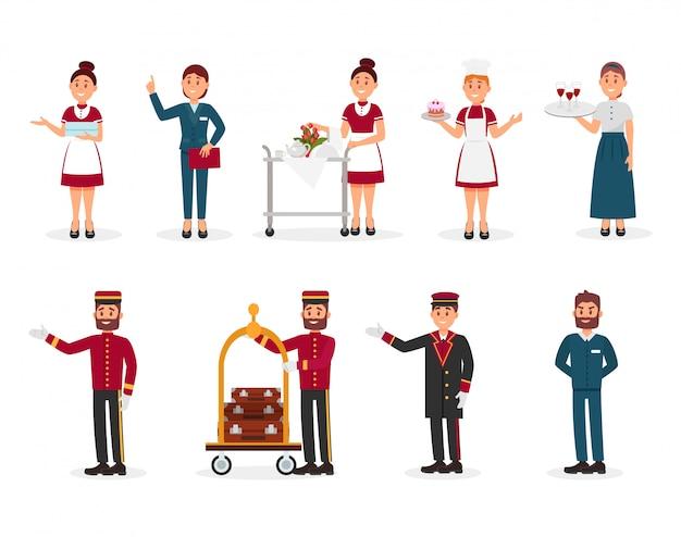 ホテルのスタッフのフラットセット。清潔なタオル、マネージャー、荷物のトロリーが付いているベルボーイ、ドアマン、レストランのシェフとメイド