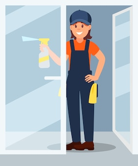 Тензид молодой женщины распыляя от пластичной бутылки на стеклянной двери. профессионал на работе. улыбающаяся девушка в рабочей форме. плоский дизайн