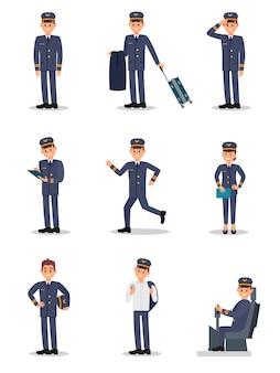 Квартира с пилотом в разных действиях. капитан пассажирского самолета. молодой мужчина и женщина в форме