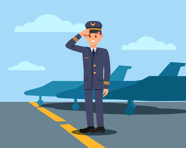 Пилот, стоящий на аэродроме и держащий шляпу вручную. капитан пассажирского самолета. самолеты и голубое небо на фоне. плоский дизайн