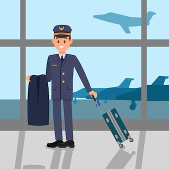 Молодой пилот стоя в аэропорту, держа пиджак и чемодан. капитан в рабочей форме. большое окно с видом на аэродром. плоский дизайн