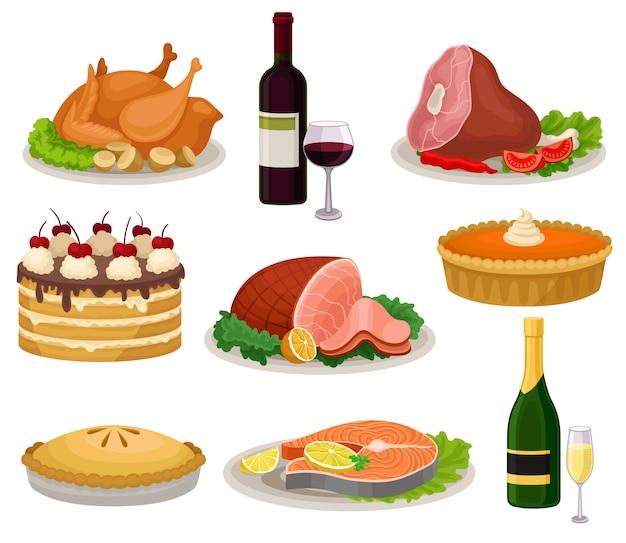 伝統的な休日の食べ物や飲み物のセットです。おいしい食事と飲み物。白地にカラフルなイラスト。