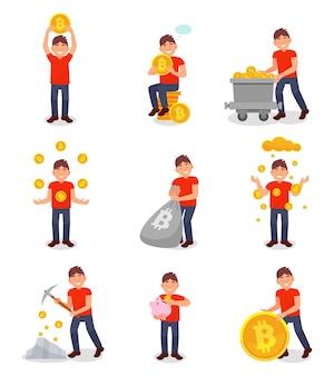 若い男マイニングビットコインデジタルマネーセット、白い背景の上の暗号通貨マイニング技術概念図