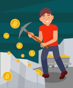 若い男がつるはしで岩からコインを掘り、ビットコインをマイニングする男、暗号通貨マイニング技術イラストスタイル