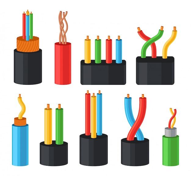 電気ケーブルセット、白い背景の上の色の絶縁図の多芯ケーブル