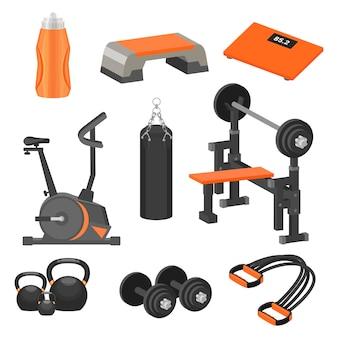 Набор различных спортивных товаров и тренажеров. тема здорового образа жизни. элементы для рекламного плаката или баннера