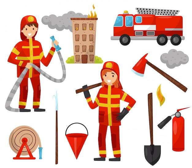 消防士と消防設備セット、トラック、消防ホース、消火栓、消火器、斧、スクラップ、バケツ、白い背景の上のホースのイラスト