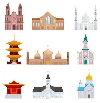 白い背景の上の宗教的な建物セット、イスラム教、仏教、キリスト教の宗教寺院のイラスト