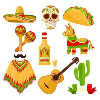 メキシコの休日記号セット、ソンブレロ帽子、砂糖の頭蓋骨、タコス、マラカス、ピニャータ、テキーラボトル、ポンチョ、白い背景の上のアコースティックギターのイラスト