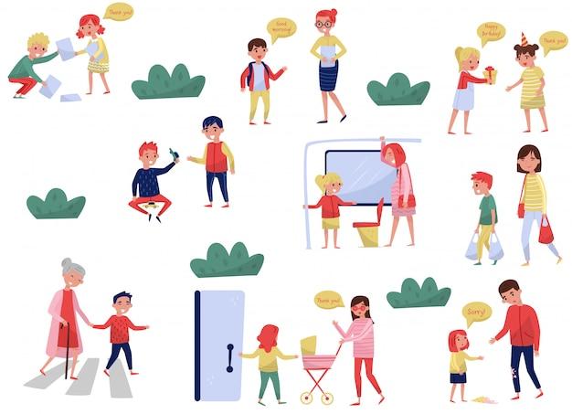 Множество вежливых детей в разных ситуациях. дети с хорошими манерами. маленькие мальчики и девочки помогают взрослым