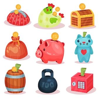 さまざまな形の貯金箱のセット。コインや紙幣を保存するための小さな容器。財務テーマ