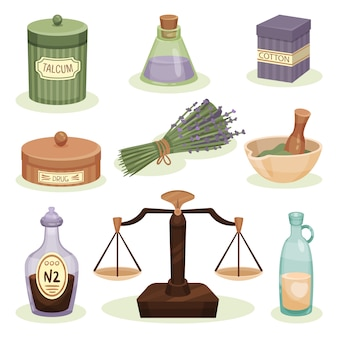 Набор элементов аптеки. баночка с тальком, хлопком и лекарствами, бутылки с жидкостями, ступка с пестиком. нетрадиционная медицина