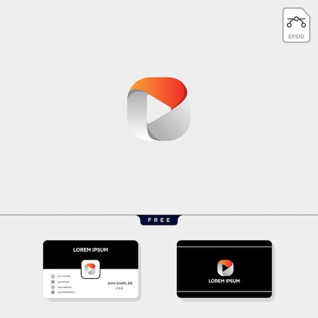 Отрицательная кнопка воспроизведения. шаблон логотипа