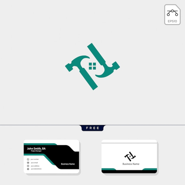 Шаблон логотипа молота, бесплатный дизайн визитной карточки