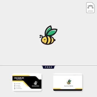 Логотип летающего пчелы, дизайн бесплатной визитной карточки