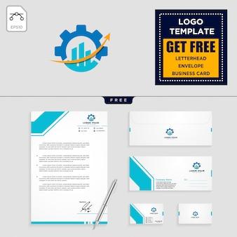 ギア、およびビジネスチャートのロゴテンプレートと文房具の設計