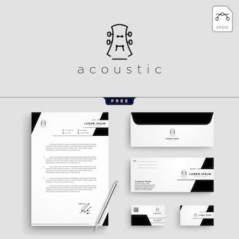 ギター、音楽ロゴテンプレートのベクトル図