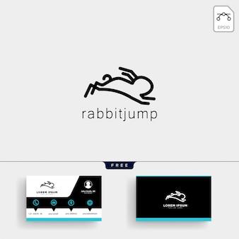ウサギまたはバニーロゴのテンプレートと名刺をジャンプする