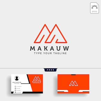Шаблон логотипа буква м с дизайном визитной карточки