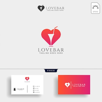 Любовь бар минимальный логотип шаблон векторные иллюстрации