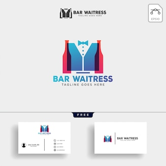 Официантка бар или официант креативный логотип шаблон векторные иллюстрации