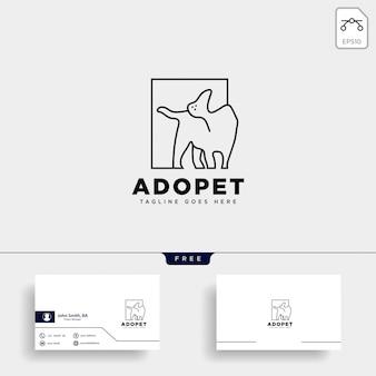犬ペット動物ラインアートスタイルのロゴ
