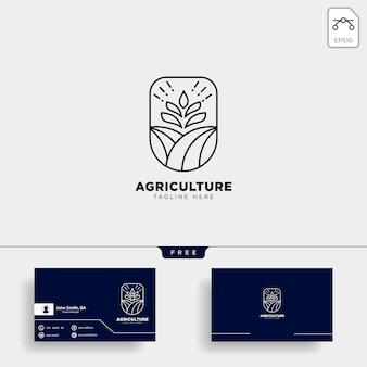 農業農場のロゴと名刺テンプレート