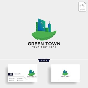 Зеленый город логотип и шаблон визитной карточки
